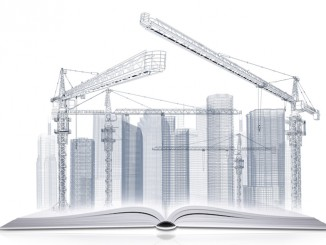 On the pages of an open book is wire frame tower crane and skyscrapers. White background
