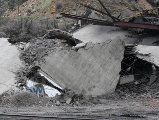 Rubble from the Oxbow silo. CREDIT KVNF / LAURA PALMISANO