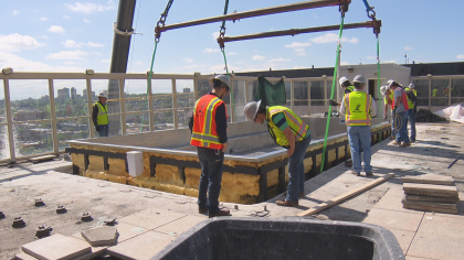 RMS Cranes supplies All Terrain crane for $1,000,000 pool upgrade at the Warwick Hotel in Denver