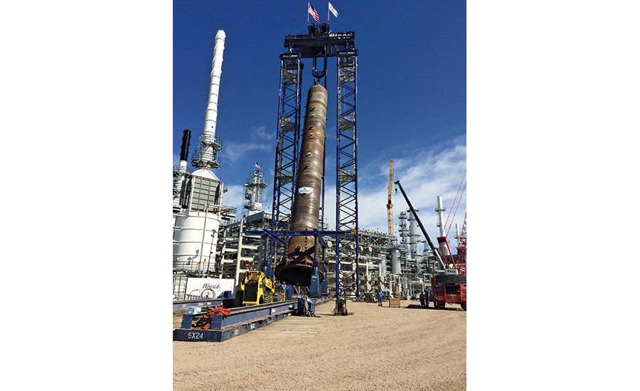Bigge created a custom-lifting structure called the Lift Tower System to up-end and place a 950- ton, 146-ft-long hydrocracker reactor at the Calumet Montana Refinery in Great Falls, Mont.