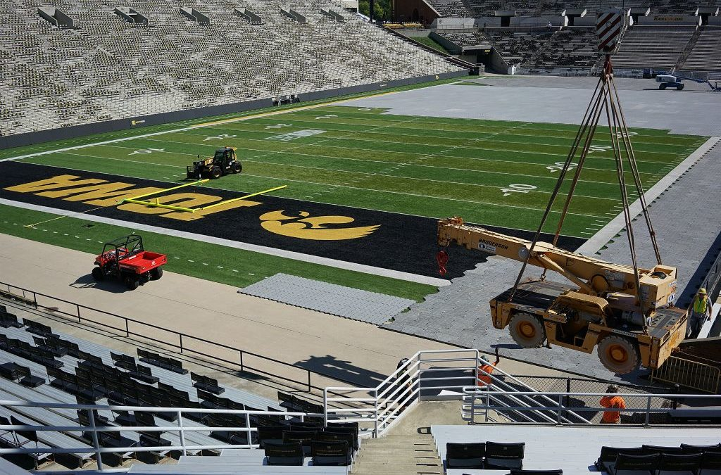 TimeLapse Video of cranes, forklifts, aerial lifts and riggers gearing up for 1st concert ever at Kinnick Stadium at U of Iowa