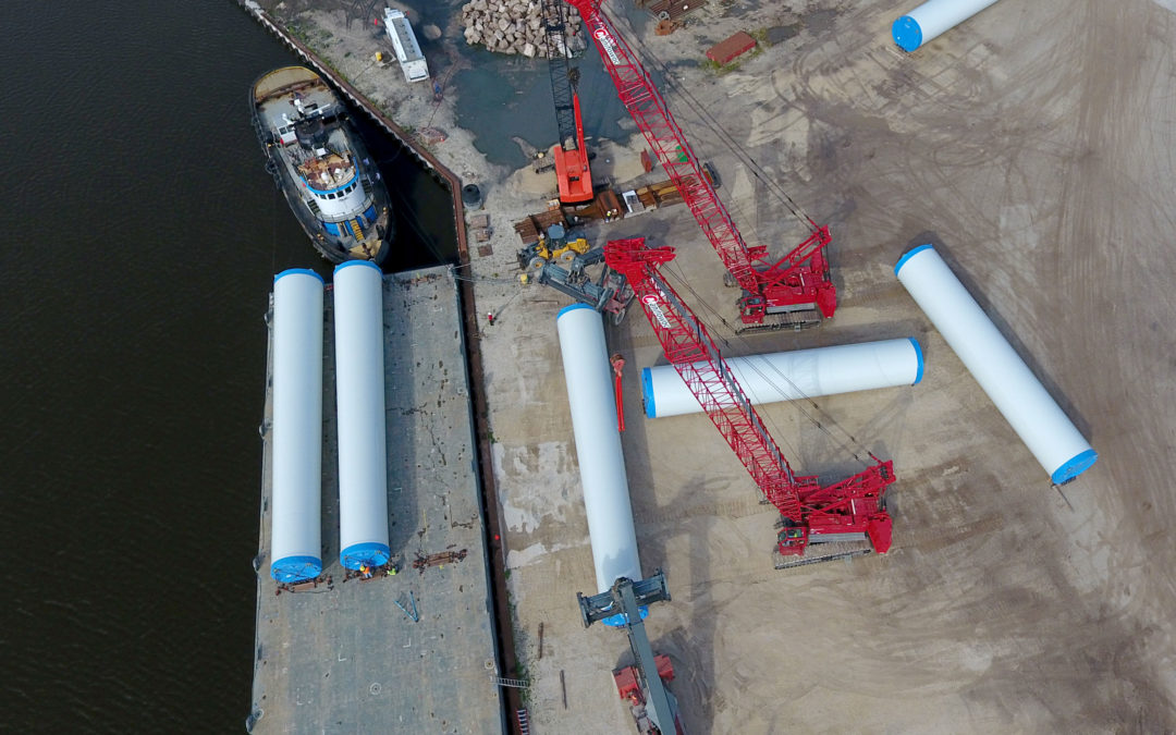 Manitowoc MLC165s bring opportunity for barge-shipping of wind turbine towers