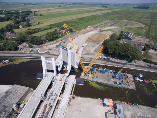 600-ton Demag CC 3800-1 Crawler Crane works on the Queen Maxima Bridge in the Netherlands