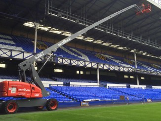 Skyjack's SJ86 T telescopic boom provides access to the roof at Everton FC