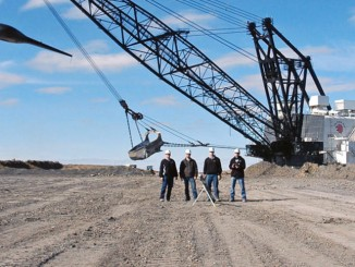 A technical crew at North American's Falkirk Mining Co. uses a fast-flying drone to conduct three-dimensional surveys to help plan for coal mining and reclamation. It's the first surface mine in the country to take advantage of the relatively new technology. (LAUREN DONOVAN, TRIBUNE)