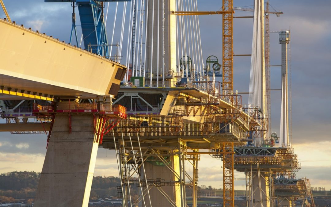 Queensferry Crossing-The UK's largest bridge project battles fierce weather conditions.