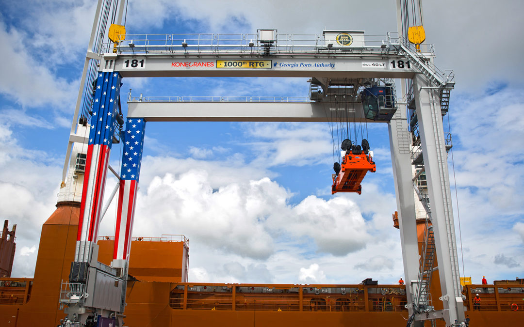Konecranes and the Georgia Ports Authority celebrate Konecranes 1000th Rubber Tired Gantry Crane