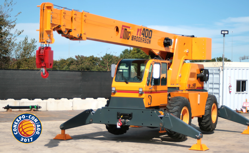Broderson to introduce 2 new down cab RT cranes at CONEXPO-CON/AGG 2017 in Las Vegas, Nevada.