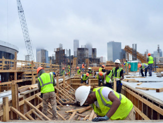 Workers onsite at the new Mercedes Ben Stadium in Atlanta.