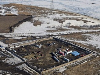 An aerialphoto from Feb. 2017 shows the site where the final phase of the Dakota Access Pipeline will take place with boring equipment routing the pipeline underground and across Lake Oahe to connect with the existing pipeline near Cannon Ball, N.D. (Tom Stromme, The Bismarck Tribune/Associated Press)