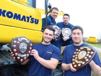 SUCCESSES: Komatsu UK's Ethan Kelly, Steve Chapman, Owen Outterside and Kris Malloy show off their trophies