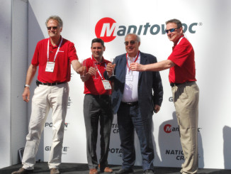 Manitowoc Cranes held a special ceremony for NFT Specialized in Tower Cranes, the premier Potain dealer in the Middle East, at CONEXPO 2017 in Las Vegas, Nevada. The companies celebrated their successful partnership with a champagne toast and commemorated NFT's sales performance in 2016, during which the company sold 122 Potain tower cranes.