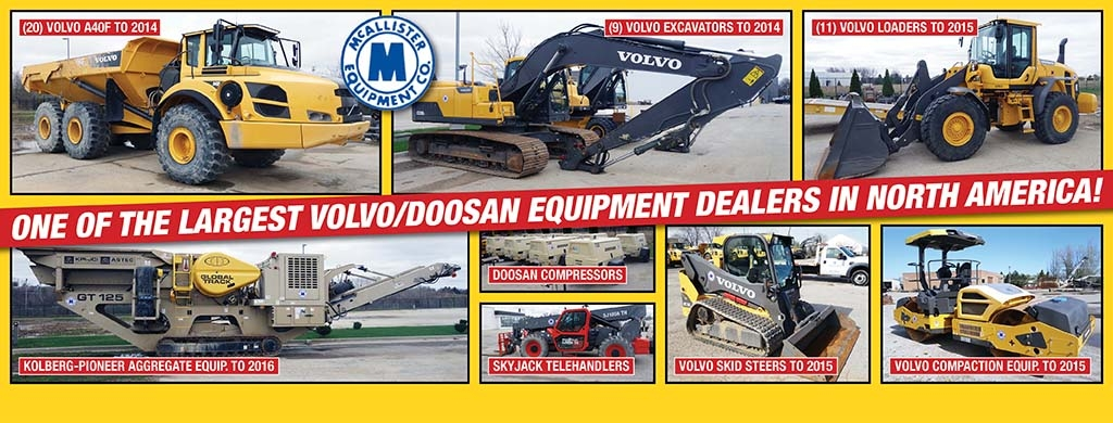 McAllister Equipment to Auction New and Recent Volvo and Doosan