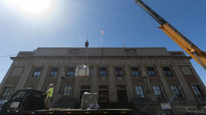 Ness Crane Lifts Roofing Supplies At Historic Lewis County
