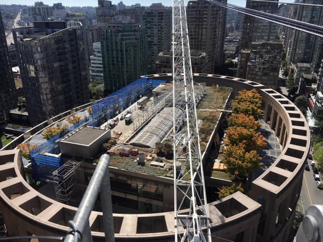 Terex CTL 430-24 Luffing Jib Tower Crane right fit for library reconstruction project in Vancouver