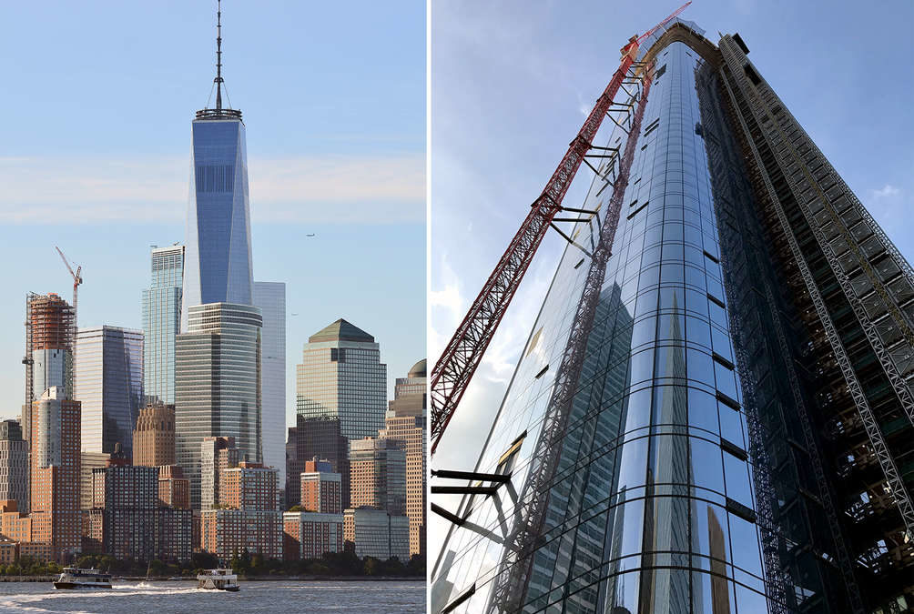 A Wolffkran luffing jib tower crane is coming down in #NYC as completion is imminent @ 111 Murray Street, Tribeca