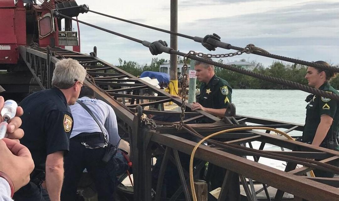 Crawler Crane boom fails and falls on construction worker in the Florida Keys