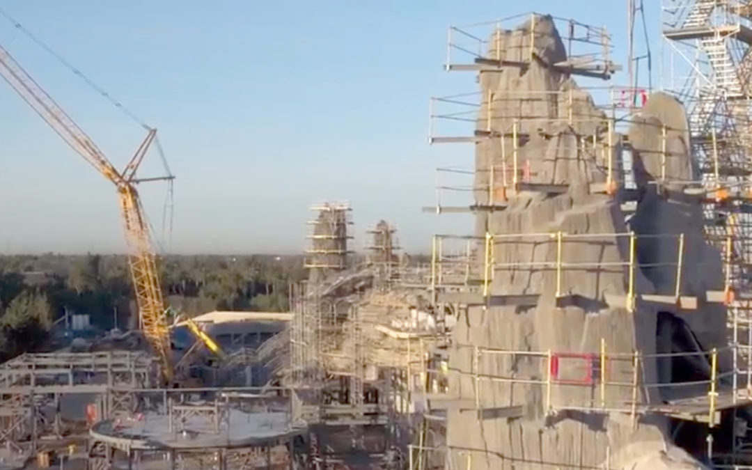 Watch Video of Cranes dominating the landscape in Star Wars Land Construction