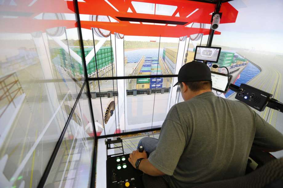 Simulators at The West Gulf Maritime Association give new crane operators experience in the cab