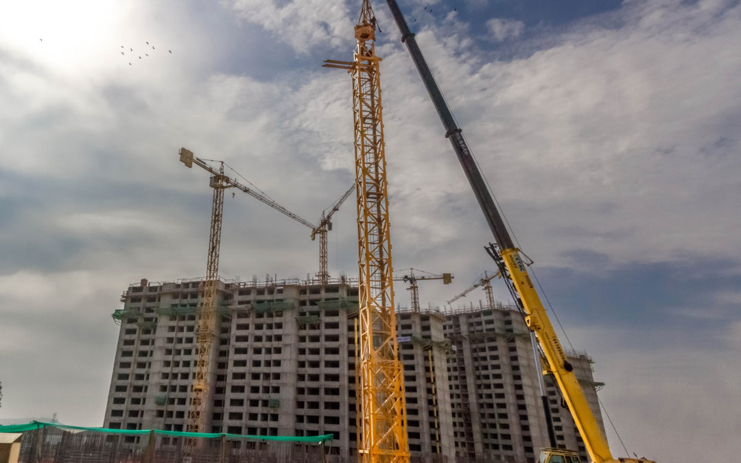 Potain Tower cranes working at the Athletes' Village at venue for 2019 Pan American Games
