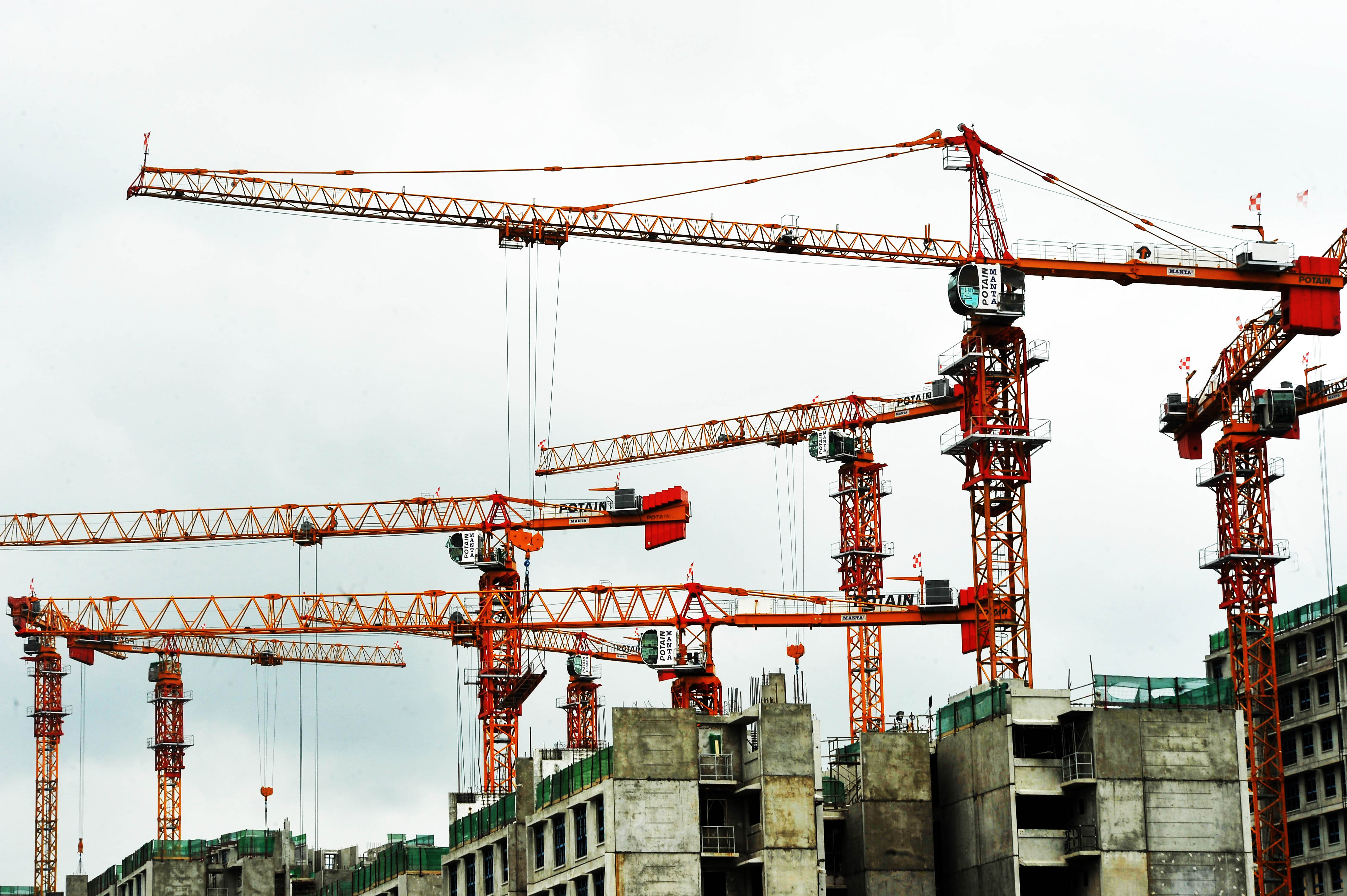 Potain MCT 385 tower cranes dominated on the site of