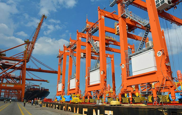 ICTSI takes delivery of four Mitsui Li-ion Hybrid Rubber Tire Gantry Cranes