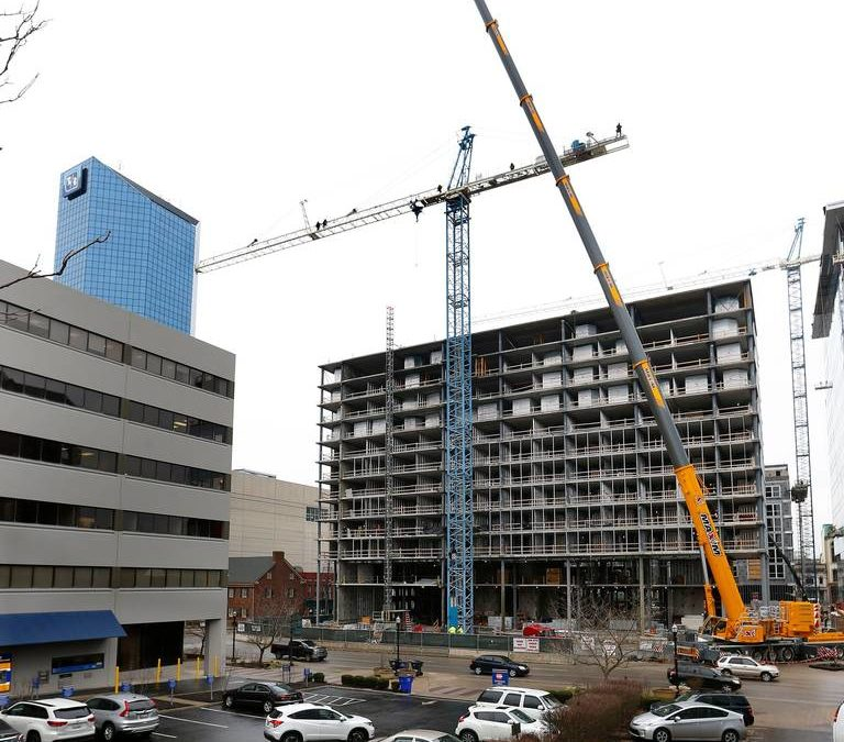 Maxim Crane removes tower crane in Lexington, KY with an All Terrain