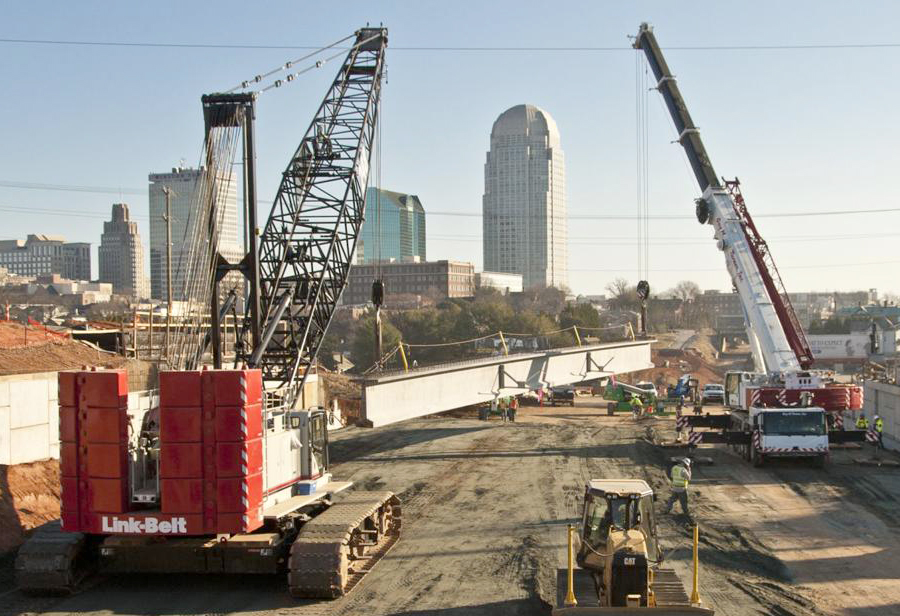Tandem Lifts with a Link-Belt Crawler and Liebherr All Terrain Crane go smoothly in Winston-Salem, NC