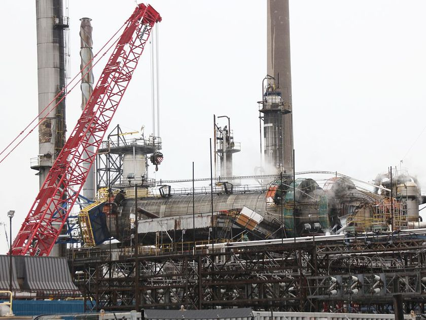 Lattice Boom Crawler Cranes brought in to lift fallen tower at a refinery in Canada
