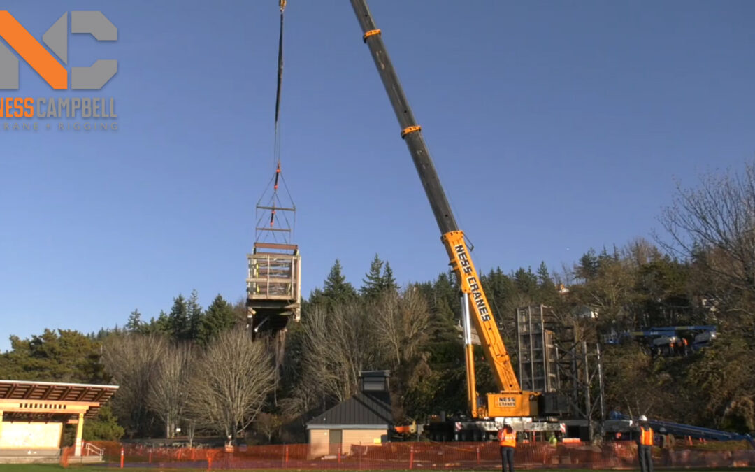 Ness Campbell Crane & Rigging Liebherr All Terrain removing Bridge in Washington in Cool Time Lapse Video