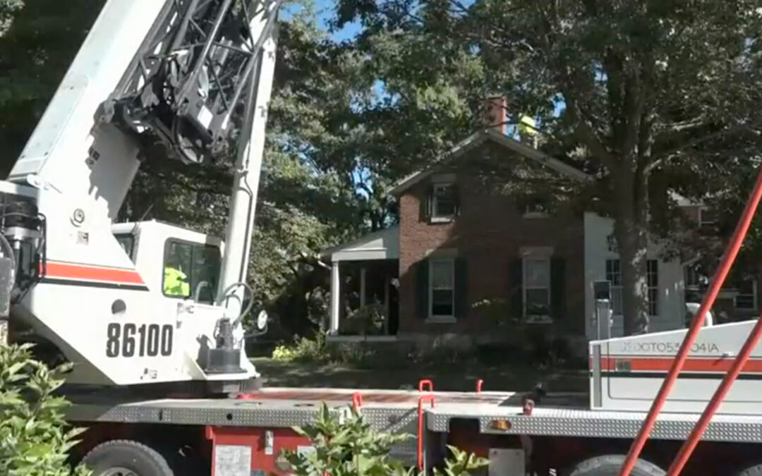 Coonrod Wrecker and Crane Service's Link-Belt HTC-86100 removes 180 year old tree after storms in Iowa