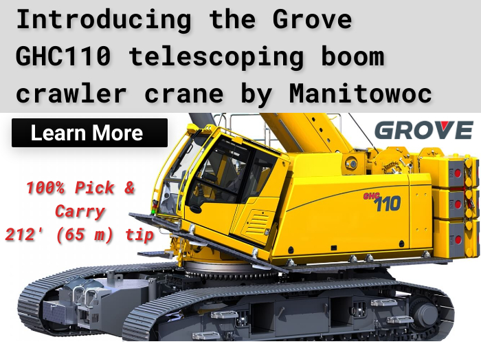 The Manitowoc Group released the NEW Grove 110-ton Telescoping Crawler Crane Model GHC110